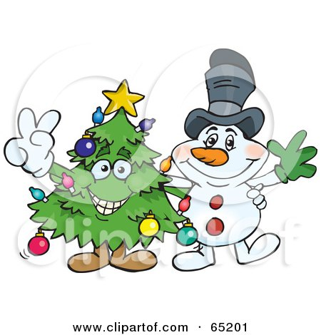 Royalty-Free (RF) Clipart Illustration of a Peaceful Christmas Tree and Snowman by Dennis Holmes Designs