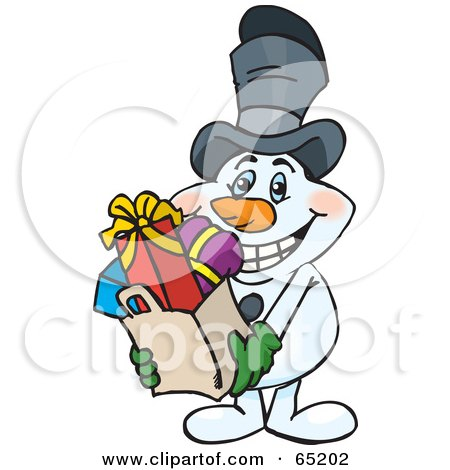 Royalty-Free (RF) Clipart Illustration of a Jolly Snowman Carrying A Bag Full Of Christmas Presents by Dennis Holmes Designs
