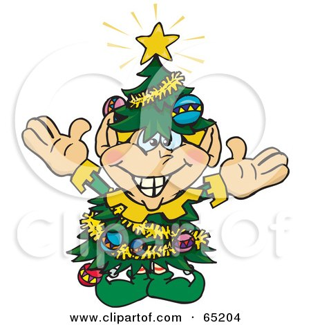 Royalty-Free (RF) Clipart Illustration of a Happy Elf Wearing A Christmas Tree Costume by Dennis Holmes Designs