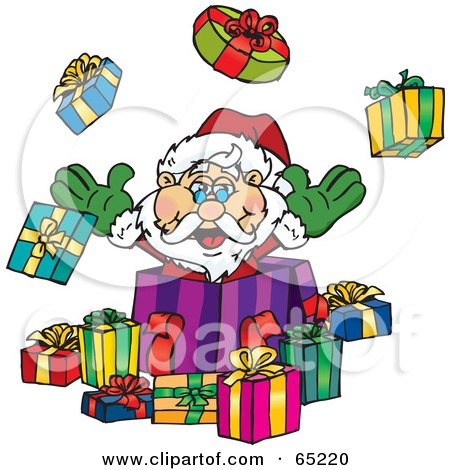 Royalty-Free (RF) Clipart Illustration of a Jolly Santa Popping Out Of A Gift Box, Surrounded By Christmas Presents - Version 1 by Dennis Holmes Designs