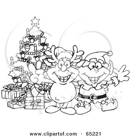 Royalty-Free (RF) Clipart Illustration of a Black And White Outline Of A Peaceful Rudolph And Elf By A Christmas Tree by Dennis Holmes Designs