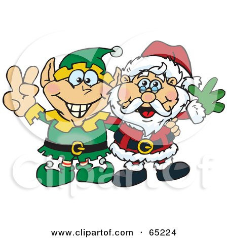 Royalty-Free (RF) Clipart Illustration of a Peaceful Elf And Santa Claus by Dennis Holmes Designs