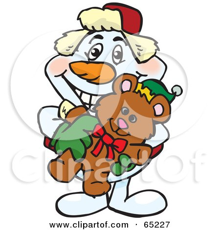 Royalty-Free (RF) Clipart Illustration of a Happy Snowman Holding A Christmas Teddy Bear by Dennis Holmes Designs