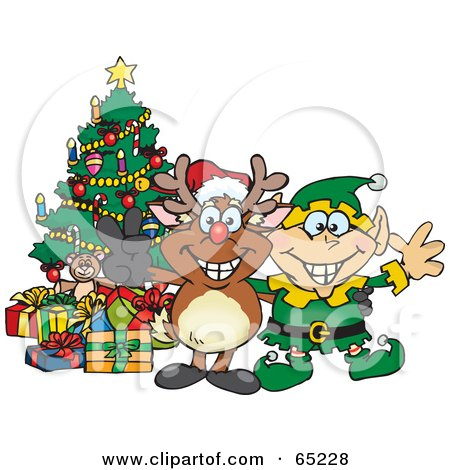 Royalty-Free (RF) Clipart Illustration of a Peaceful Reindeer With An Elf By A Christmas Tree by Dennis Holmes Designs