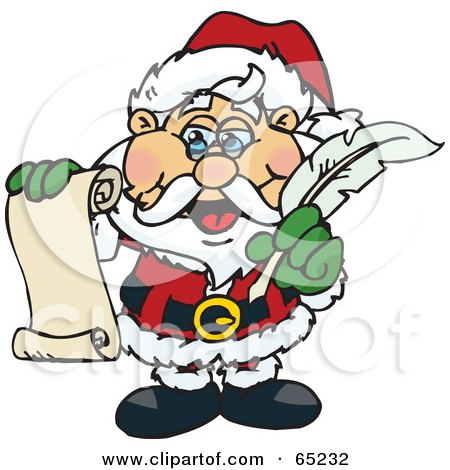 Royalty-Free (RF) Clipart Illustration of Santa Holding A List And A Feather Quill by Dennis Holmes Designs