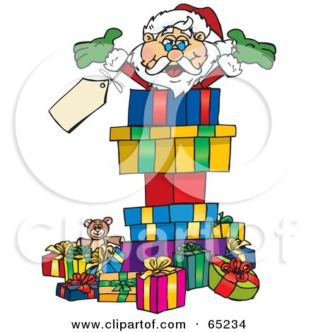 Royalty-Free (RF) Clipart Illustration of a Jolly Santa Popping Out Of A Gift Box, Surrounded By Christmas Presents - Version 2 by Dennis Holmes Designs