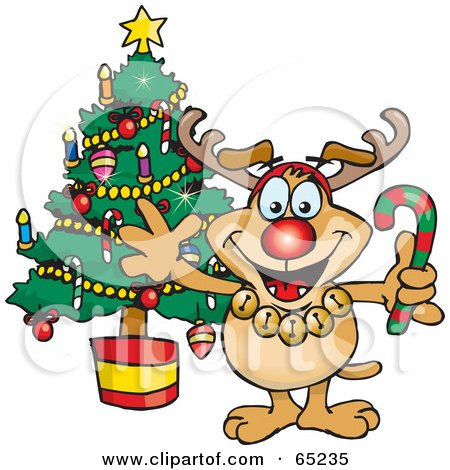 Royalty-Free (RF) Clipart Illustration of a Sparkey Dog Wearing A Rudolph Costume And Standing By A Christmas Tree by Dennis Holmes Designs