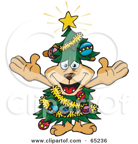 Royalty-Free (RF) Clipart Illustration of a Happy Sparkey Dog Wearing A Christmas Tree Costume by Dennis Holmes Designs
