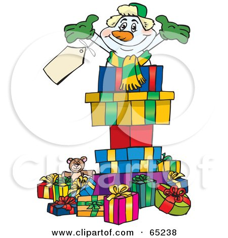 Royalty-Free (RF) Clipart Illustration of a Jolly Snowman Popping Out Of A Gift Box, Surrounded By Christmas Presents - Version 3 by Dennis Holmes Designs
