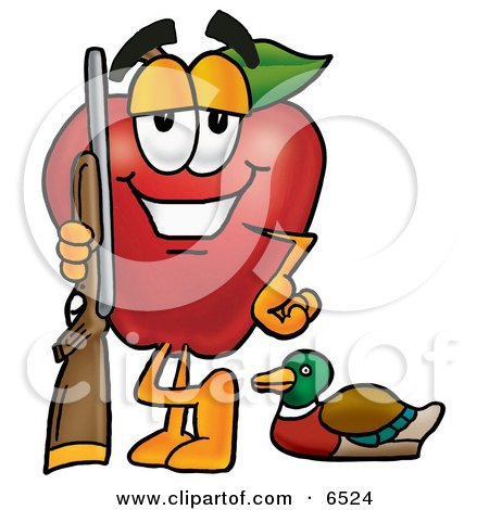 Red Apple Character Mascot Duck Hunting, Standing With a Rifle and Duck Clipart Picture by Toons4Biz