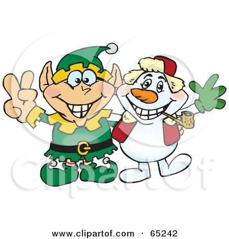 Royalty-Free (RF) Clipart Illustration of a Peaceful Elf And Snowman by Dennis Holmes Designs