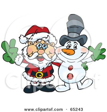 Royalty-Free (RF) Clipart Illustration of a Peaceful Santa and Snowman by Dennis Holmes Designs