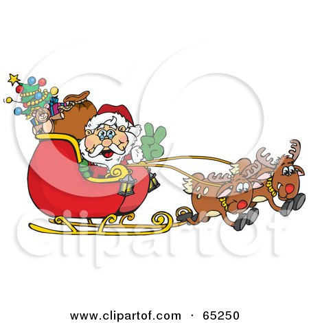 Royalty-Free (RF) Clipart Illustration of a Peaceful Santa Driving Sleigh With Two Reindeer by Dennis Holmes Designs
