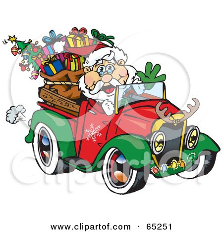 Royalty-Free (RF) Clipart Illustration of Santa Waving And Driving A Ute Truck Sleigh by Dennis Holmes Designs