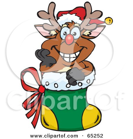 Royalty-Free (RF) Clipart Illustration of a Jolly Reindeer Nestled In A Christmas Stocking by Dennis Holmes Designs