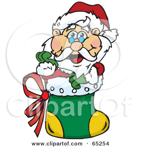 Royalty-Free (RF) Clipart Illustration of a Jolly Santa Nestled In A Christmas Stocking by Dennis Holmes Designs