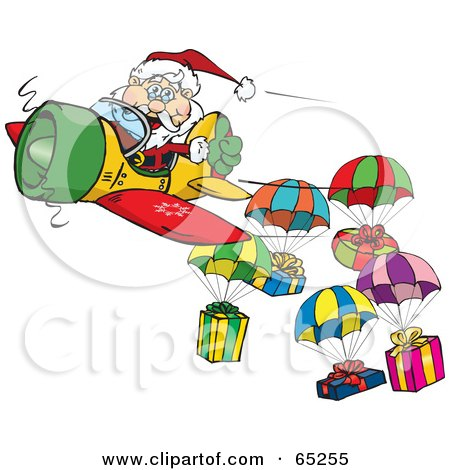 Royalty-Free (RF) Clipart Illustration of a Santa Flying A Plane And Dropping Presents On Parachutes by Dennis Holmes Designs