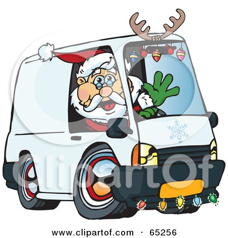 Royalty-Free (RF) Clipart Illustration of a Friendly Santa Driving A Delivery Van by Dennis Holmes Designs