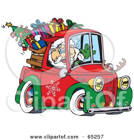 Royalty-Free (RF) Clipart Illustration of Santa Waving And Driving A Pickup Truck Sleigh by Dennis Holmes Designs