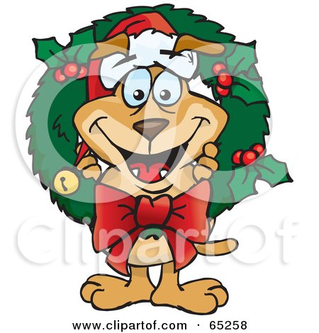 Royalty-Free (RF) Clipart Illustration of a Sparkey Dog Poking His Head Through A Christmas Holly Wreath by Dennis Holmes Designs