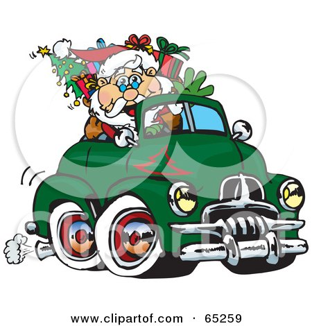 Royalty-Free (RF) Clipart Illustration of Santa Waving And Driving A Green Fj Holden Truck Sleigh by Dennis Holmes Designs