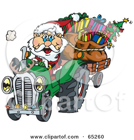 Royalty-Free (RF) Clipart Illustration of a Peaceful Santa Driving A Tractor Sled by Dennis Holmes Designs
