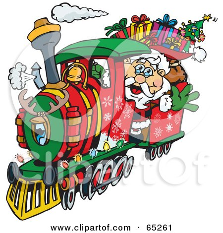 Royalty Free RF Clipart Illustration Of Santa Waving And Driving A Train Sleigh