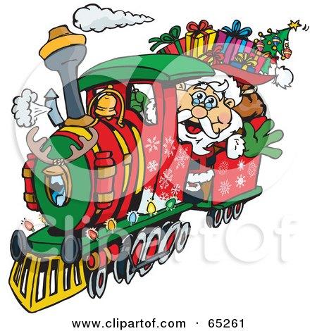 Santa Waving And Driving A Train Sleigh Posters, Art Prints