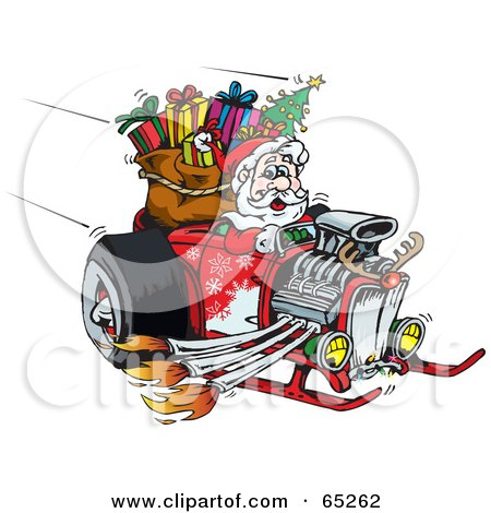Royalty-Free (RF) Clipart Illustration of a Peaceful Santa Driving A Flaming Hotrod Sled by Dennis Holmes Designs