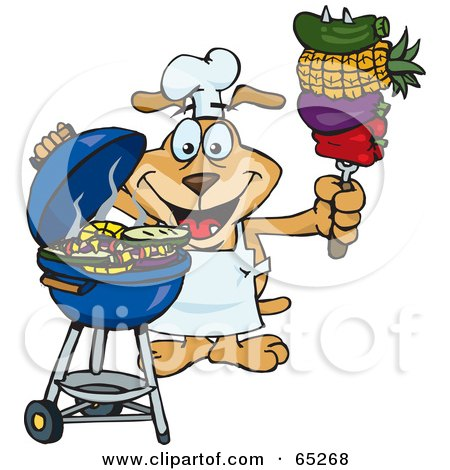 Royalty-Free (RF) Clipart Illustration of a Sparkey Dog Chef Barbecuing Veggies On A Charcoal Grill by Dennis Holmes Designs