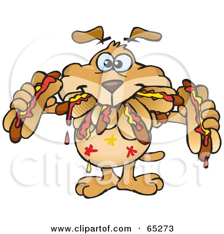 Royalty-Free (RF) Clipart Illustration of a Sparkey Dog Shoving Weenies In His Mouth At A Hot Dog Eating Contest by Dennis Holmes Designs