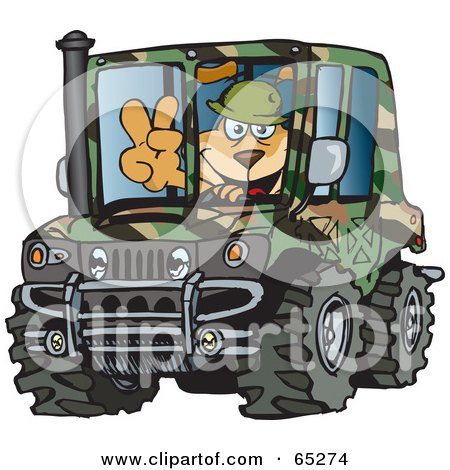 Royalty-Free (RF) Clipart Illustration of a Sparkey Dog Gesturing A Peace Sign And Driving A Camouflage Hummer by Dennis Holmes Designs