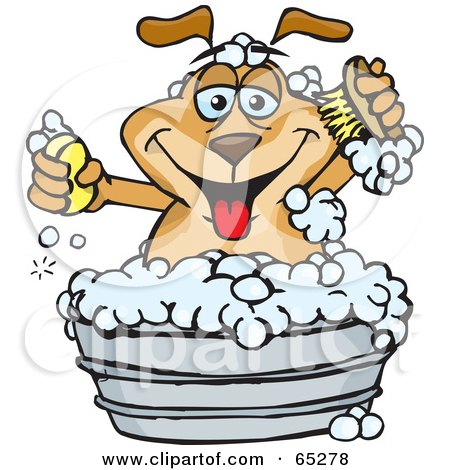 Royalty-Free (RF) Clipart Illustration of a Sparkey Dog Holding A Scrub Brush And Bar Of Soap While Bathing In A Metal Tub by Dennis Holmes Designs