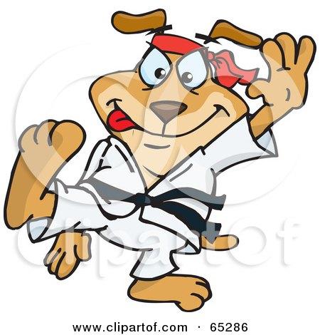 Royalty-Free (RF) Clipart Illustration of a Taekwondo Sparkey Dog by Dennis Holmes Designs