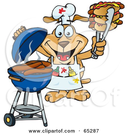 Royalty-Free (RF) Clipart Illustration of a Sparkey Dog Chef Barbecuing Hot Dogs On A Charcoal Grill by Dennis Holmes Designs