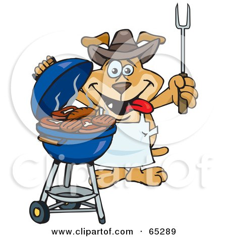 Royalty-Free (RF) Clipart Illustration of a Sparkey Dog Chef Barbecuing Steaks And Burgers On A Charcoal Grill by Dennis Holmes Designs
