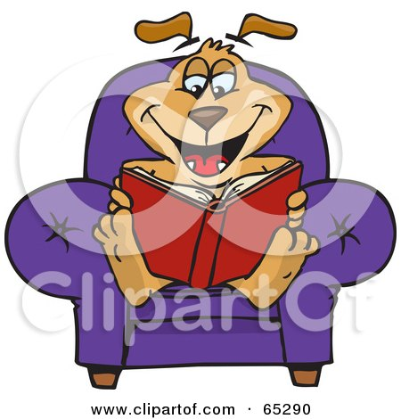 Royalty-Free (RF) Clipart Illustration of a Sparkey Dog Sitting In A Chair And Reading A Book by Dennis Holmes Designs