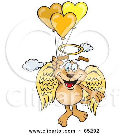 Royalty-Free (RF) Clipart Illustration of a Sparkey Dog Angel Floating In The Sky And Holding Onto Heart Balloons by Dennis Holmes Designs