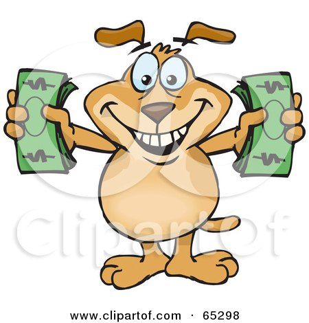Royalty-Free (RF) Clipart Illustration of a Sparkey Dog Holding Two Wads Of Cash by Dennis Holmes Designs