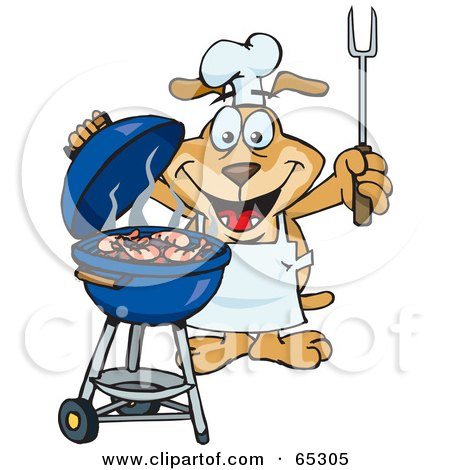 Royalty-Free (RF) Clipart Illustration of a Sparkey Dog Chef Barbecuing Prawns On A Charcoal Grill by Dennis Holmes Designs