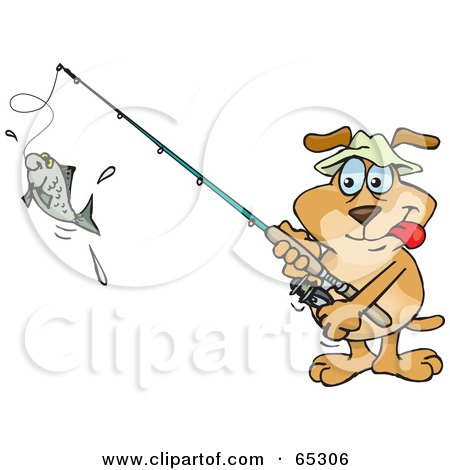 Royalty-Free (RF) Clipart Illustration of a Sparkey Dog Reeling In A Fish On A Line by Dennis Holmes Designs
