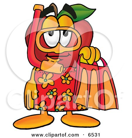 Red Apple Character Mascot in Orange and Yellow Snorkel Gear Clipart Picture by Toons4Biz