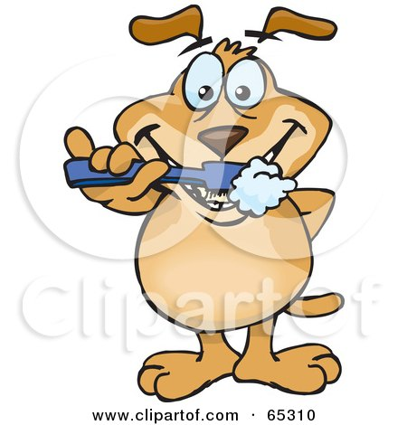 Royalty-Free (RF) Clipart Illustration of a Sparkey Dog Brushing His Teeth by Dennis Holmes Designs