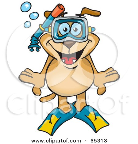 Royalty-Free (RF) Clipart Illustration of a Sparkey Dog Snorkeling Underwater by Dennis Holmes Designs