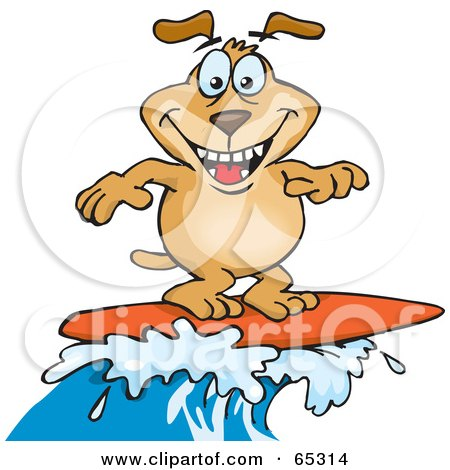 Royalty-Free (RF) Clipart Illustration of a Sparkey Dog Surfing On A Wave by Dennis Holmes Designs