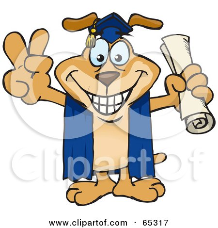 Royalty-Free (RF) Clipart Illustration of a Sparkey Dog Grad Holding His Diploma And Gesturing A Peace Sign by Dennis Holmes Designs