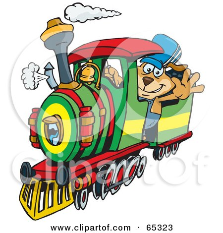 Royalty-Free (RF) Clipart Illustration of a Sparkey Dog Train Driver Waving by Dennis Holmes Designs