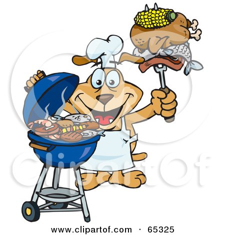 Royalty-Free (RF) Clipart Illustration of a Sparkey Dog Chef Barbecuing On A Charcoal Grill by Dennis Holmes Designs