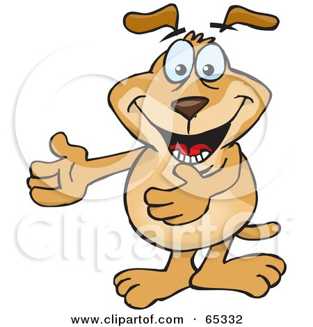 Royalty-Free (RF) Clipart Illustration of a Sparkey Dog Gesturing With His Arms Out To The Left by Dennis Holmes Designs