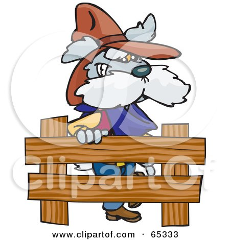 Royalty-Free (RF) Clipart Illustration of a Cowboy Dog By A Wooden Fence by Dennis Holmes Designs